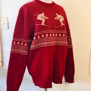 VTG Lambswool Icelandic Birds Eye Knit Ski Sweater